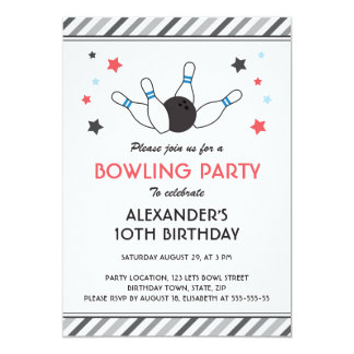 Gray stripes with stars bowling birthday party 5x7 paper invitation card