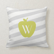 Gray Stripes Yellow Apple Monogram Teacher Pillow
