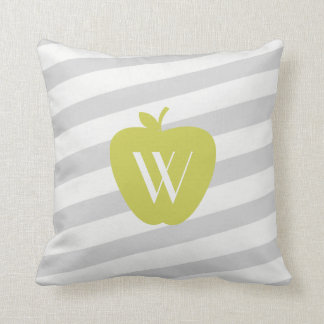 Gray Stripes Yellow Apple Monogram Teacher Pillow