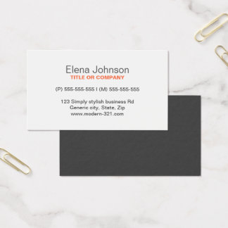 Gray stylish generic simple elegant personal business card