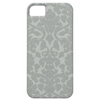 Gray Subtle Embossed Style Damask iPhone 5 Case