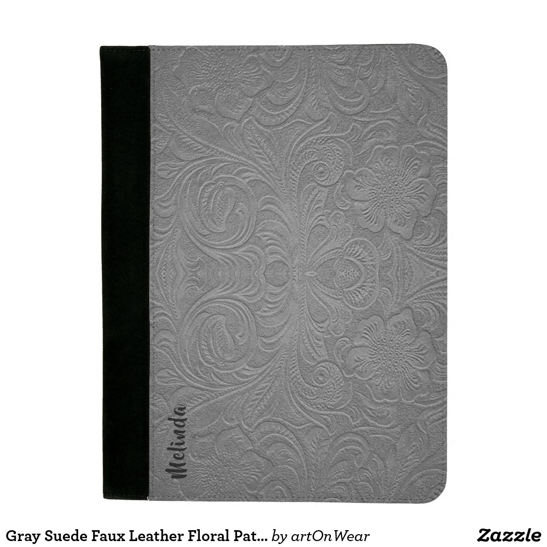 Gray Suede Faux Leather Floral Pattern