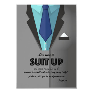 Gray Suit Up Groomsman Request Card