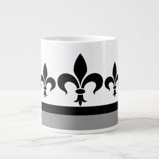 Gray Swanky Fleur De Lis Jumbo Mug