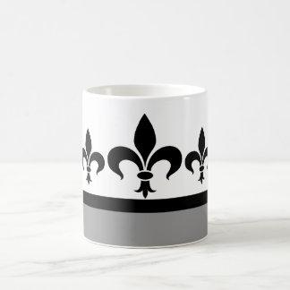 Gray Swanky Fleur De Lis Mug