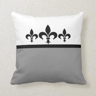 Gray Swanky Fleur De Lis Pillow