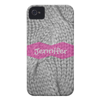 Gray Sweater knit look, Pink monogram iPhone 4/4s Case-Mate iPhone 4 Case