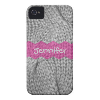 Gray Sweater knit look, Pink monogram iPhone 4/4s iPhone 4 Cover