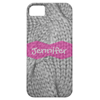 Gray Sweater knitted look, Pink monogram iPhone 5 iPhone SE/5/5s Case