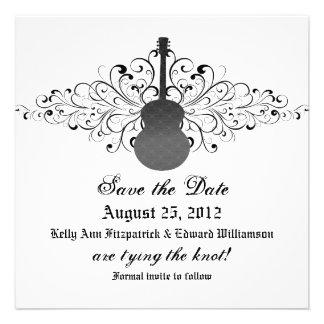 Gray Swirls Guitar Save the Date Invite