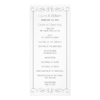 Gray Swirls Wedding Program Rack Cards