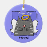 Gray Tabby Cat Angel Personalize Double-Sided Ceramic Round Christmas Ornament