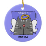 Gray Tabby Cat Angel Personalize Christmas Tree Ornament