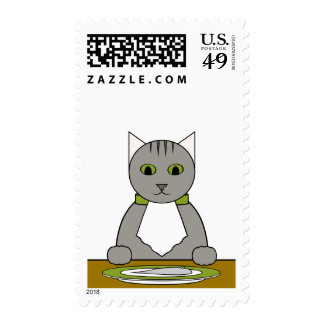 Gray Tabby Cat at Dinner Postage Stamp