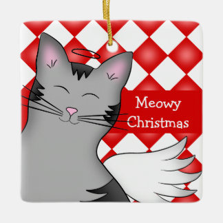 Gray tabby cat ceramic ornament