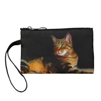Gray tabby cat change purse