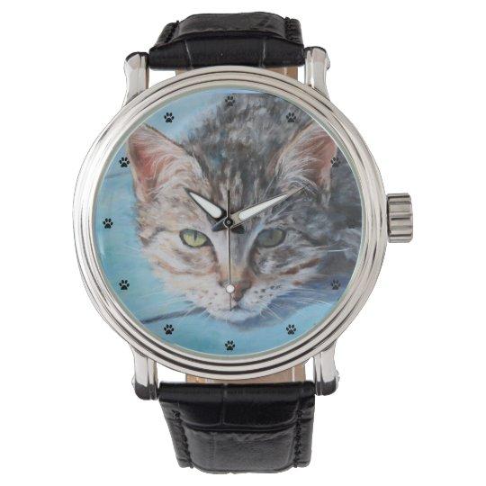 Gray Tabby Cat Fine Art Wrist Watch