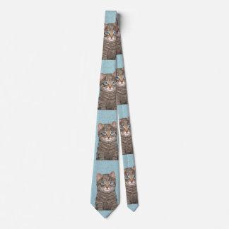 Gray Tabby Cat Painting - Cute Original Cat Art Neck Tie