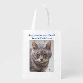 Gray Tabby Cat Reusable Grocery Bags