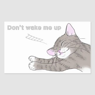 gray tabby cat rectangular sticker