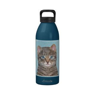 Gray Tabby Cat Drinking Bottle