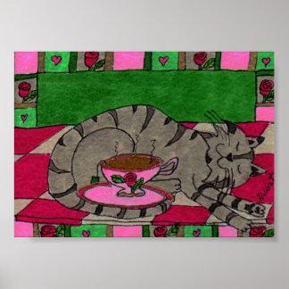 Gray Tabby Cat with Cup of Tea Mini Folk Art Poster