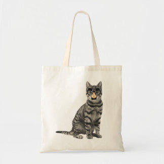 Gray Tabby Cat with Funny Nose Glasses Tote Bag