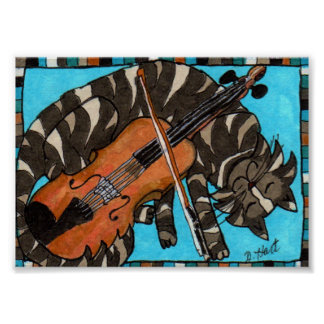 Gray Tabby Cat with Violin Fiddle Folk Art Poster
