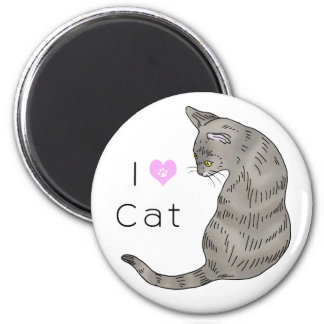 gray tabby cat (yellow eyes) 2 inch round magnet