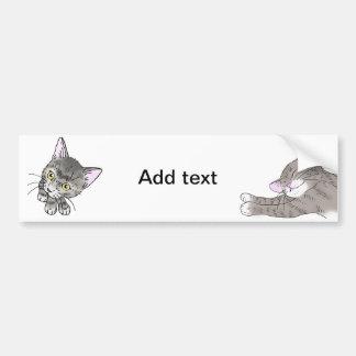 gray tabby cat (yellow eyes) bumper sticker
