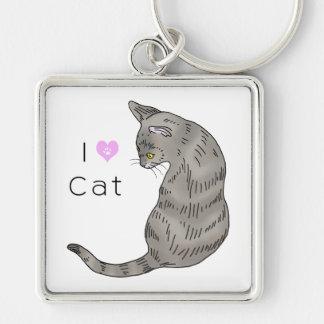 gray tabby cat (yellow eyes) keychain
