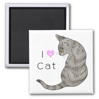 gray tabby cat (yellow eyes) 2 inch square magnet