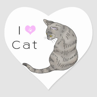 gray tabby cat (yellow eyes) heart sticker