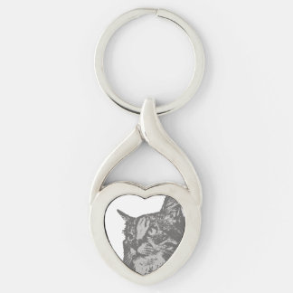 Gray Tabby Maine Coon Cat Head Key Chain