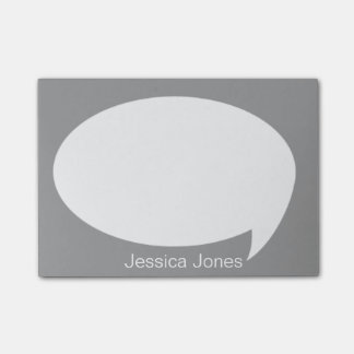 Gray Talk Bubble Rounded Personalized Post-it® Notes