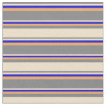 [ Thumbnail: Gray, Tan, Blue & Brown Colored Stripes Fabric ]