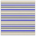 [ Thumbnail: Gray, Tan, Dark Grey, Blue & White Pattern Fabric ]