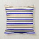 [ Thumbnail: Gray, Tan, Dark Grey, Blue & White Pattern Pillow ]