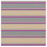 [ Thumbnail: Gray, Tan & Purple Lines/Stripes Pattern Fabric ]