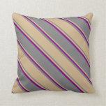 [ Thumbnail: Gray, Tan & Purple Lines/Stripes Pattern Pillow ]