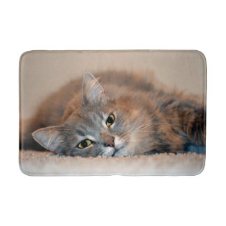 Gray, Tan, White Long-Haired Cat by Shirley Taylor Bathroom Mat