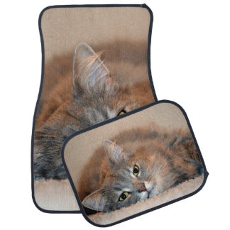 Gray, Tan, White Long-Haired Cat by Shirley Taylor Car Floor Mat