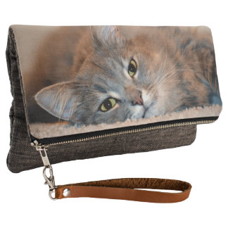 Gray, Tan, White Long-Haired Cat by Shirley Taylor Clutch