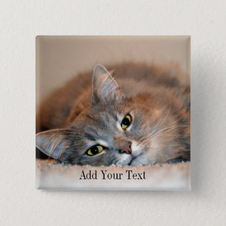 Gray, Tan, White Long-Haired Cat by Shirley Taylor Pinback Button