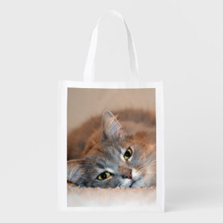 Gray, Tan, White Long-Haired Cat by Shirley Taylor Reusable Grocery Bag