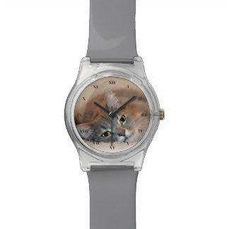 Gray, Tan, White Long-Haired Cat by Shirley Taylor Wristwatch