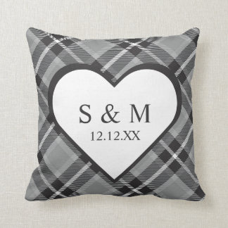 Gray Tartan Wedding Keepsake Throw Pillow