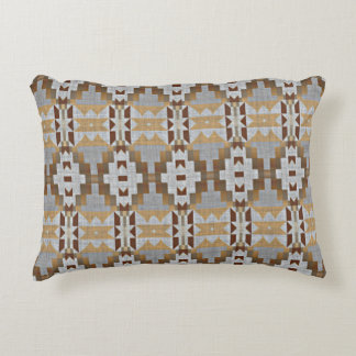 Gray Taupe Beige Dark Brown Eclectic Ethnic Art Decorative Pillow