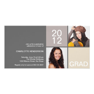 Gray taupe modern block class of grad announcement