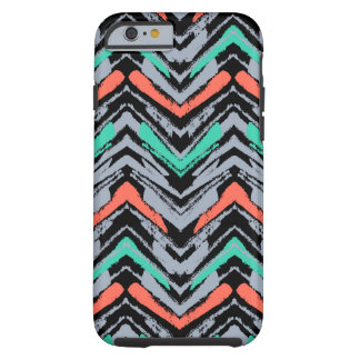 Gray, Teal, And Coral Hand Drawn Chevron Pattern iPhone 6 Case